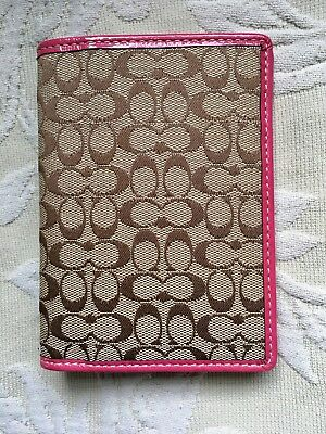 NWOT ~ COACH Agenda Planner Credit Card Cover 3.75 x 5 •SM• Tan Sig Pink Leather