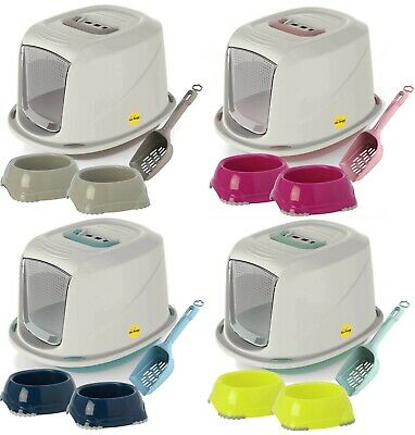 Enclosed Galaxy Cat Litter Tray + Easy Clean Scoop + 2 Food & Drink Bowls