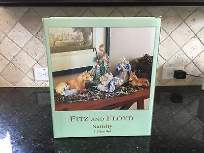 Fitz & Floyd 5 pc. Nativity set, Mary, Joseph, Baby Jesus, Donkey, & Ox Lamb