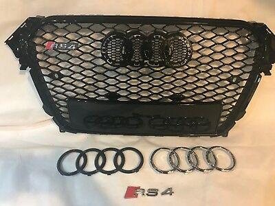 Audi A4 S4 upgrade RS4 Styled Aftermarket Stealth Gloss Black Grille 2012 - 14