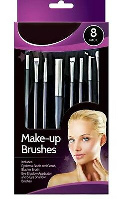 New 8 Pack Glamorize Make Up Cosmetic Brush Set  Brushes EyeBrow Shadow Blusher
