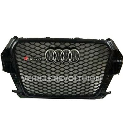 Audi Q3 SQ3 to RSQ3 Styled Black Frame Mesh Gloss Front stealth Grille 13-15