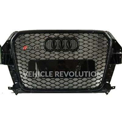 Audi Q3 SQ3 to RSQ3 Styled Stealth Black Mesh Gloss Front Grille 2013 2015