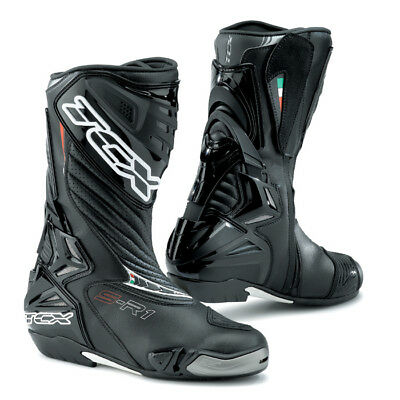 TCX S-R1 Sports Race CE Approved Motorcycle Motorbike Boots - Black RRP £199.99