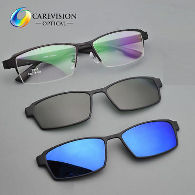 0a178c152d Eyeglasses Frame with 2pcs Magnetic Clip On Polarized Sunglasses Driving  Glasses