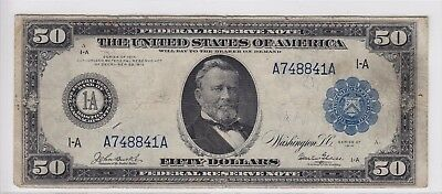 United States 1914 $50 Boston Federal Reserve Note FR#1025 A748841A