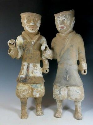 Pair of large and imposing terracotta Han dynasty warriors.