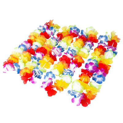 12 Hawaiian Grass Skirt Flower Hula Lei Necklace Ladies Mens Garland Fancy Dress