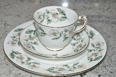 Crown Staffordshire Fine Bone China Tea Cup Saucer Luncheon Plate Pear Blossom