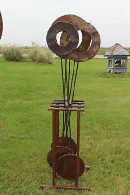 "Small 54"" Yard Sculpture Moving Pendulum - Rustic Metal"
