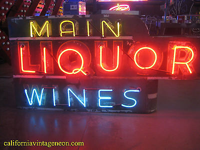 Vintage 1940's Neon MAIN LIQUOR WINES / Gorgeous Antique - Large Hanging Sign