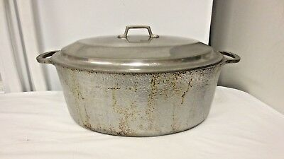 Vintage Club Aluminum Hammercraft USA Oval Roaster Pan/oven-Handled with Lid