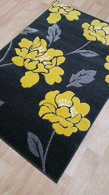 Modern Floral Design Rugs Runners Small Large Yellow Red Grey Black 3D Carved