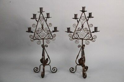 Antique Pair Of 1920's Spanish Revival Wrought Iron Candelabras (10757)