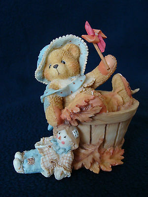 Cherished Teddies - Pat - Girl In Barrel With Pinwheel Figurine - 141313 - 1995