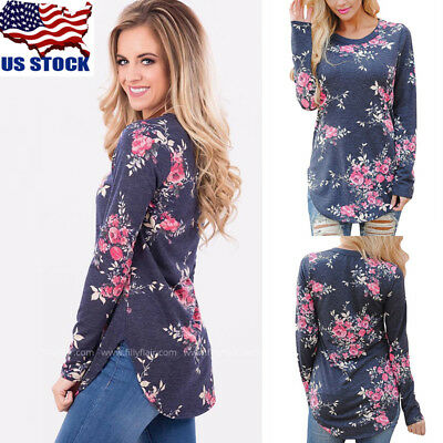 US Women's Loose Long Sleeve Floral Casual Blouse Shirt Tops Fashion T-shirt Tee