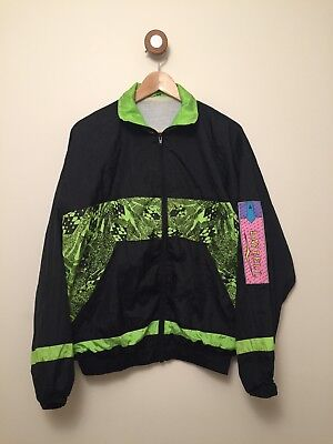 Vintage Black And Neon Green Patterned shell suit jacket M