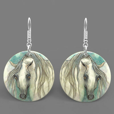 Natural Shell Printed Horse Earrings Fashion Jewelry  Round Drop J1706 0424