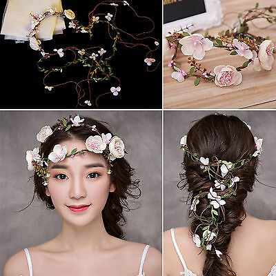 1.5M Flower Head Wreath Crown Floral Halo Hair Garland Bridal Wedding Headpiece