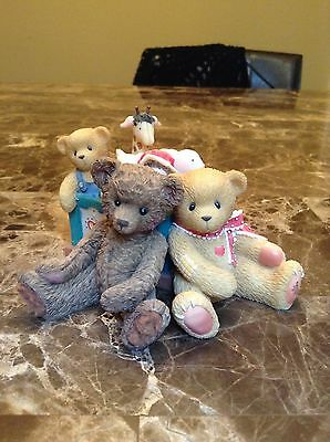 Cherished Teddies Heather and Friends 1999 Priscilla Hillman, Bears with toy box