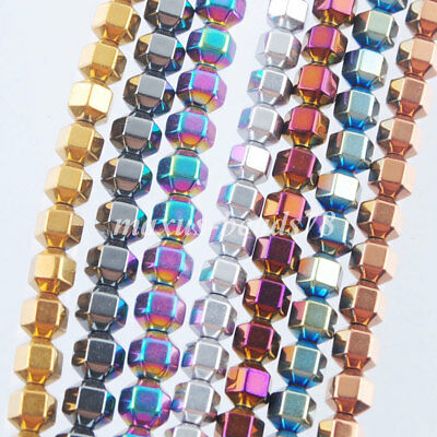 Hematite Gemstone Bicone Loose Beads 15.5 Inches Metallic Colors Jewelry MBL313