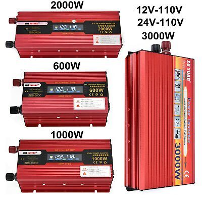 3000W WATT DC 12V to AC 110V Modifide Wave Car LED Power Inverter 4 USB Charger
