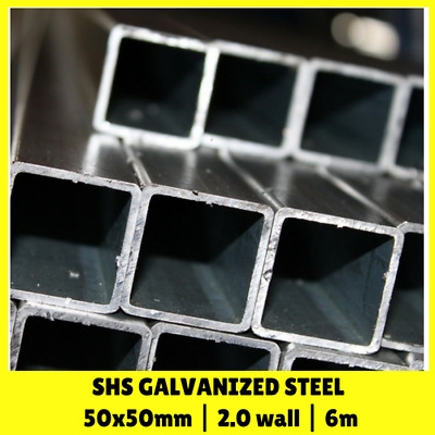 50x50mm 2mm wall 6m SHS Galvanised Square Steel Pipe Tube Mill Finish Posts