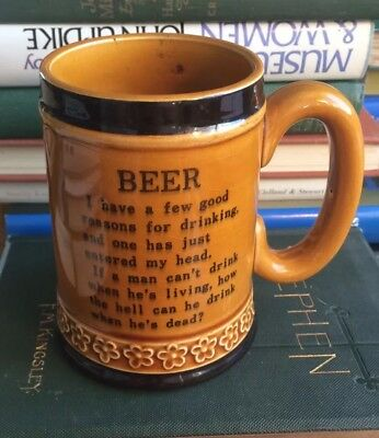 VINTAGE BEER IRISH WISDOM MUG Tankard Song Glazed REASON FOR DRINK-ING Gold MARK