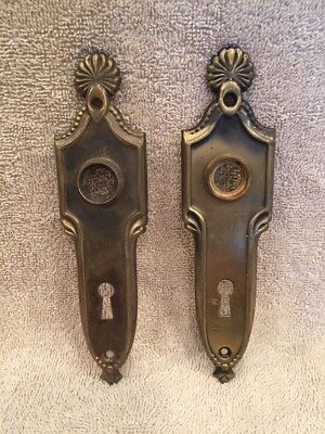 Vintage Pair Stamped Brass Classic Style Door Knob Back Plates Escutcheons