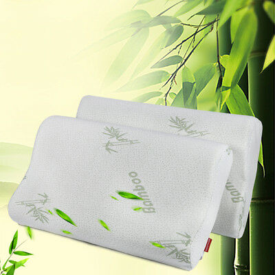 2PCS New 50X30CM Luxury Bamboo Pillow Anti Bacterial Memory Foam Fabric Cover AU