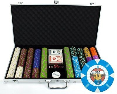 Claysmith Gaming 750-Count 'Rock Roll' Poker Chip Set in Aluminum Case, 13.5gm
