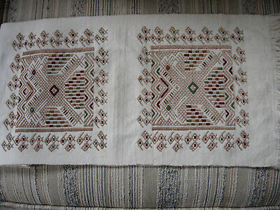"""Lovely vintage linen long runner/beautiful embroidery/fringed/11 x 56"""""""