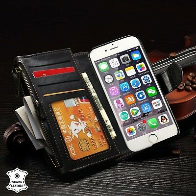 Military Shockproof Zip Wallet Magnetic REALLeather iPhone 7 8 Plus Case for Men