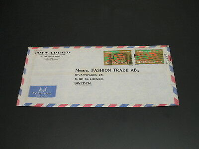 Hong Kong 1976 airmail cover to Sweden faults *29907