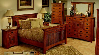 Solid Mahogany Wood Mission Style King Queen Or Cal Bed Frame And Furniture