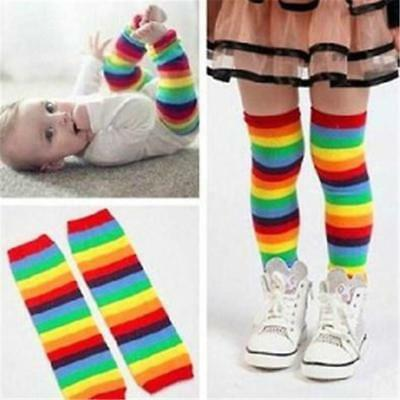 Baby Toddler Kids Boy Girs Winter Leg Warmer Tights Cute Rainbow Stripes Socks