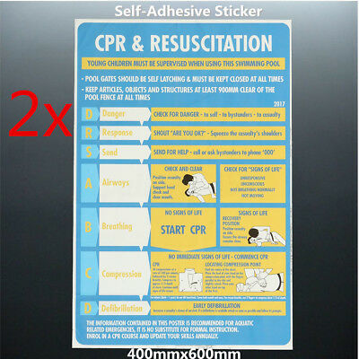 2pcs 2018 CPR + Resuscitation Chart DRSABC Pool Spa Safety Sign 600mmx400mm AU
