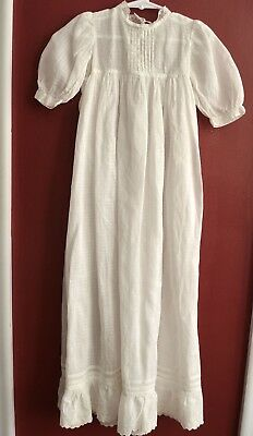 Antique Victorian Christening Gown White Cotton Lace Pin Tucks Extra Long
