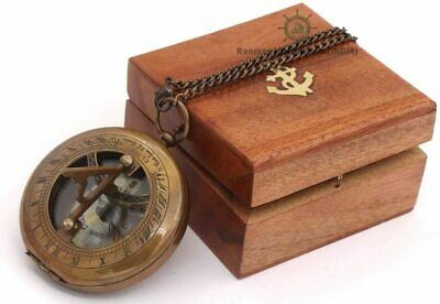 Polished Brass Kelvin & Hughes Sextant With Hard Wood Box