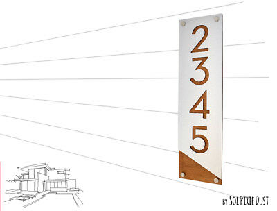 Modern House Numbers, Alucobond with Varnish Dark Oak - Vertical 3- Contemporary