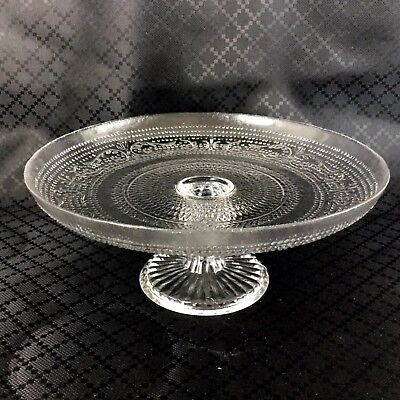 Vintage Cake Stand Pedestal Display Plinth Clear Glass Mid Century
