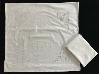 2 VTG Antique Euro White Pillow Shams, Embroidered, Crochet Lace Inserts (RF714)