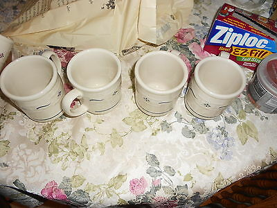 4 longberger traditions blue and white pottery mugs made in u.s.a.