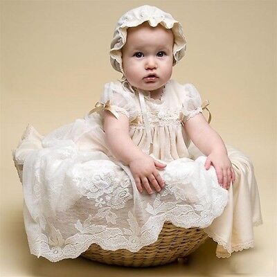 Vintage Lace - Christening Gown Dress - Bonnet -Ivory Champagne -Cream