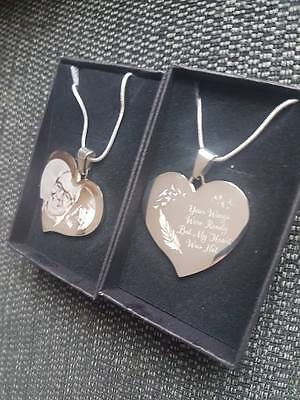 Personalised Photo/Text Engraved Heart Necklace Pendant - Wedding Birthday Gift.