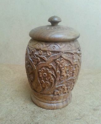 Ornate hand carved wood tobacco jar & lid vintage retro