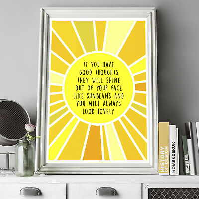 Roald Dahl Quote - If You Have Good Thoughts Poster Print, Wall Art, Home Decor
