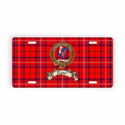 """Scottish Clan Rose Crest Motto Name Novelty Auto Plate 6"""" x 12"""""""