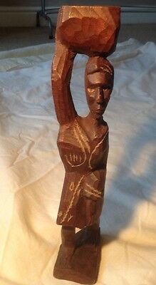 Hand Carved Wooden Figure Haitian (28cm tall) Solid Wood Gift