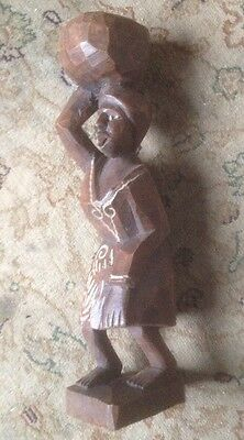 Hand Carved Wooden Lady Figure Water Carrier Haitian (25cm tall) Solid Wood Gift